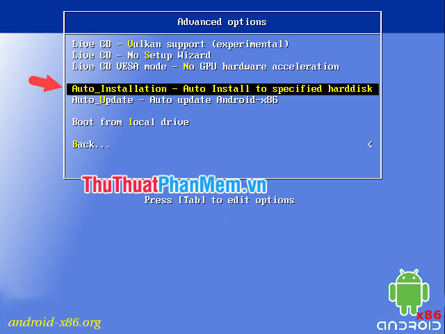 Chọn Auto Installation – Auto Install to specified harddisk