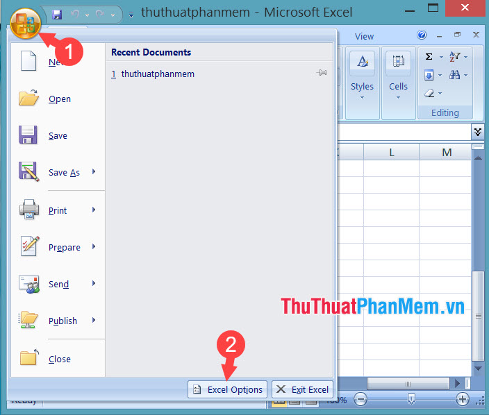 Chọn Excel Options