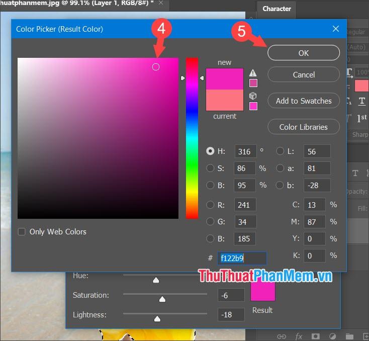 Chọn màu sắc cần đổi rồi nhấn OK