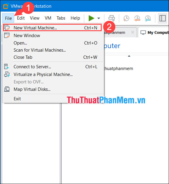 Chọn New Virtual Machine