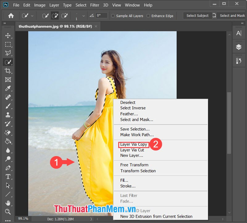 Click chuột phải vào vùng đối tượng và chọn Layer Via Copy