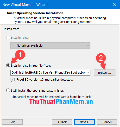 Click vào Installer disc image file (iso) rồi chọn Browse