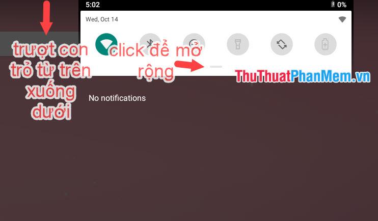 Kéo chuột từ trên màn hình xuống để mở Action Center và click vào dấu – để mở rộng