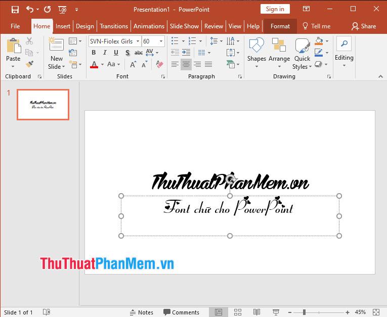 Nếu font chữ hoạt động tốt, không lỗi dấu tiếng Việt là thành công