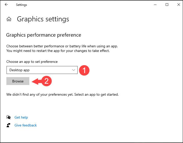Chọn Desktop app và nhấn Browse