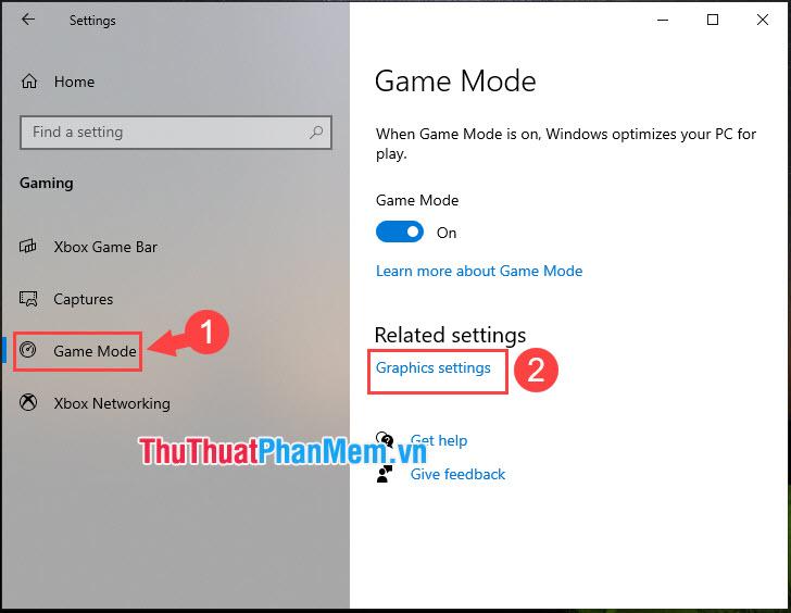Chọn Graphics settings