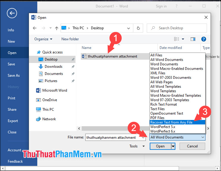 Chọn Recover Text from Any File