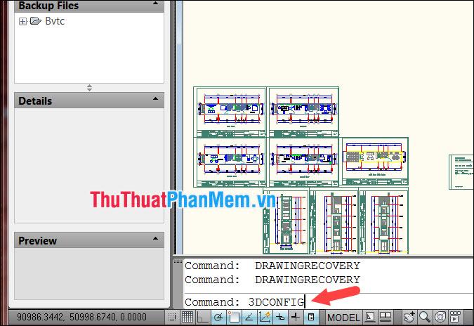 Nhập lệnh 3DCONFIG trong Command và ấn Enter