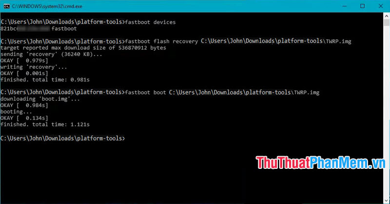 Nhập lệnh fastboot boot đường dẫn file TWRP.img