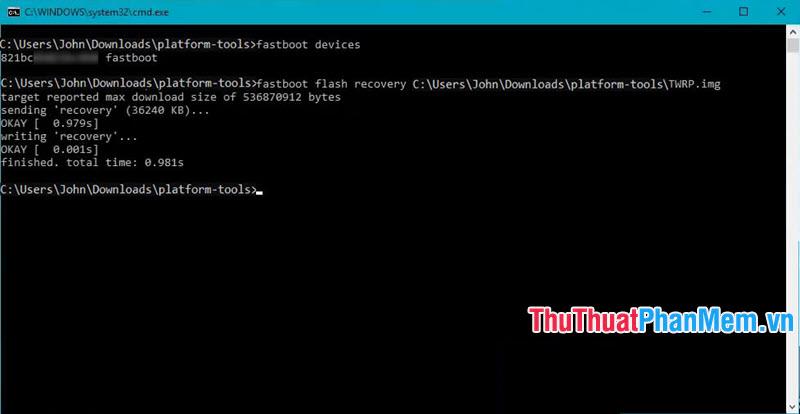 Nhập lệnh fastboot flash recovery đường dẫn file TWRP.img