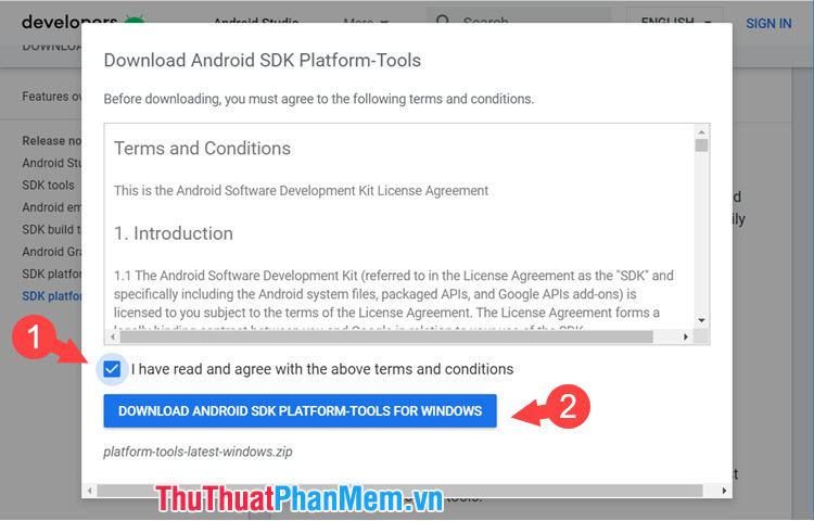 Tích chọn mục I have read and agree with the above terms and conditions và click Download Android SDK PlatForm-Tools For Windows