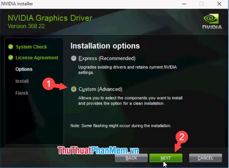 Bạn chọn Custom rồi nhấn Next