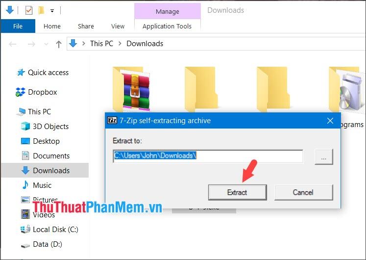Chọn Extract để giải nén file