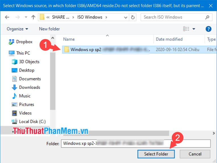 Chọn Select Folder