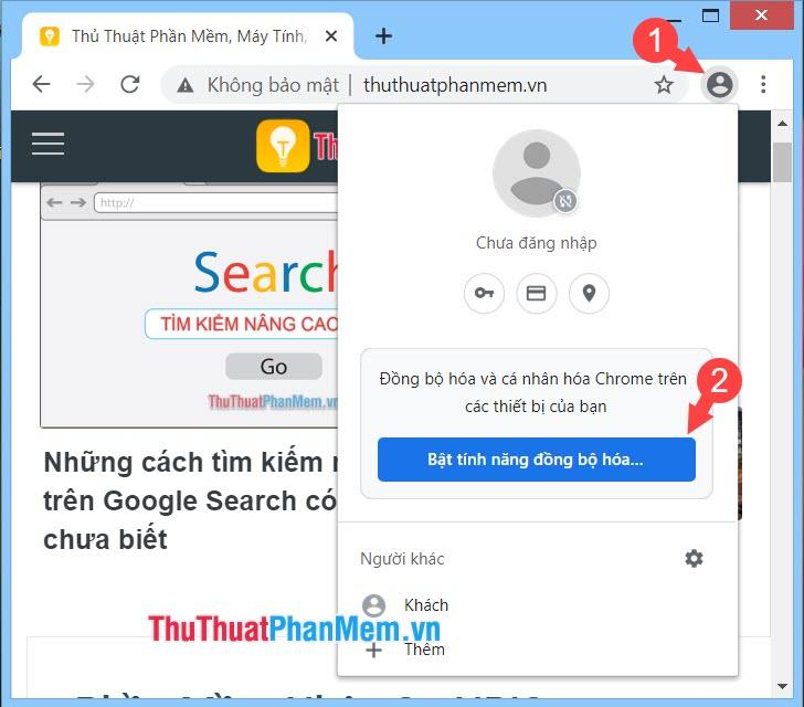 Click vào biểu tượng người dùng rồi chọn Bật tính năng đồng bộ hoá