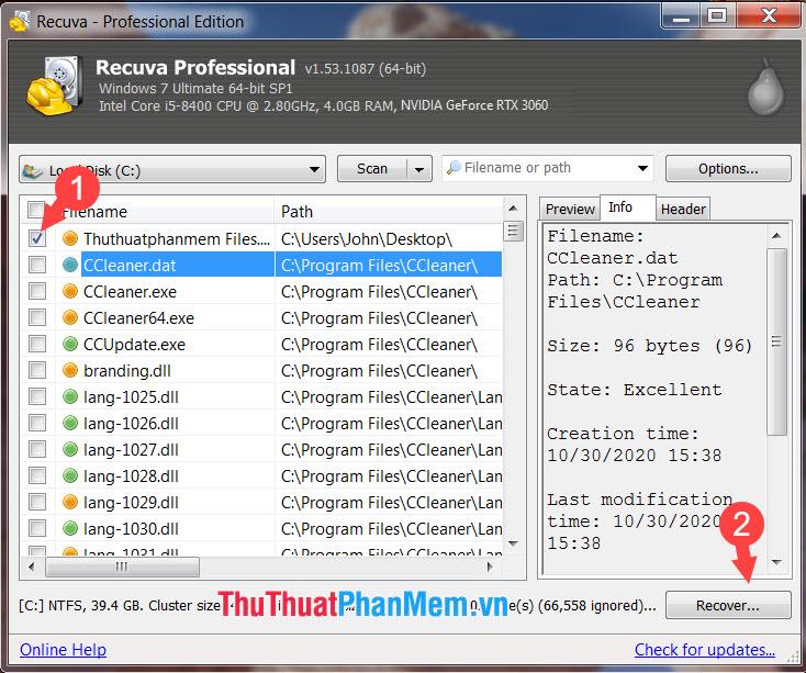 Click vào file cần khôi phục và nhấn Recover