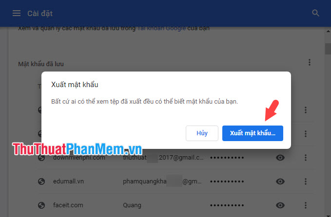 Click vào Xuất mật khẩu trong thông báo hiện lên
