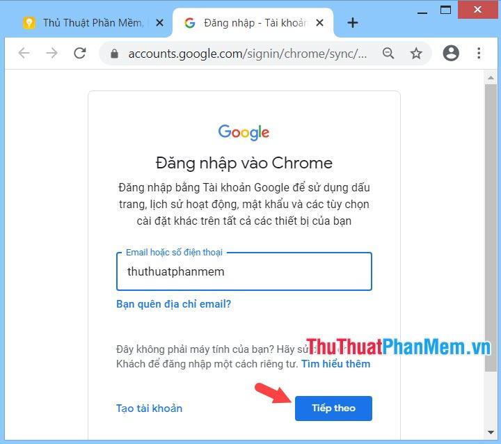 Đăng nhập bằng tài khoản Google của bạn