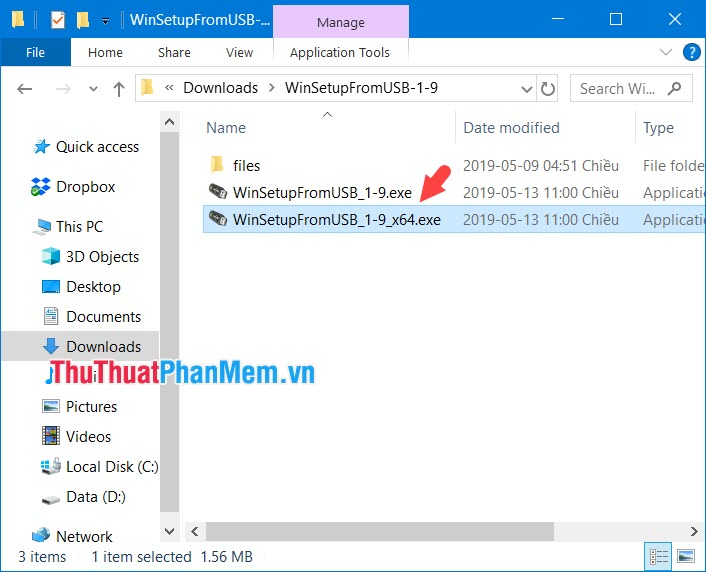 Mở thư mục đã giải nén và click vào file WinSetupFromUSB x64.exe