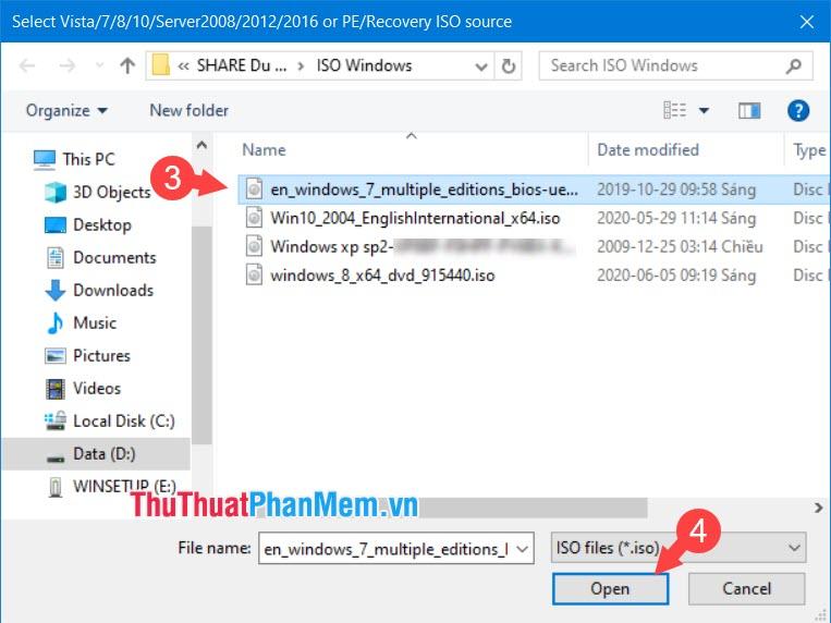 Tìm đến file ISO Windows 7 và click vào Open