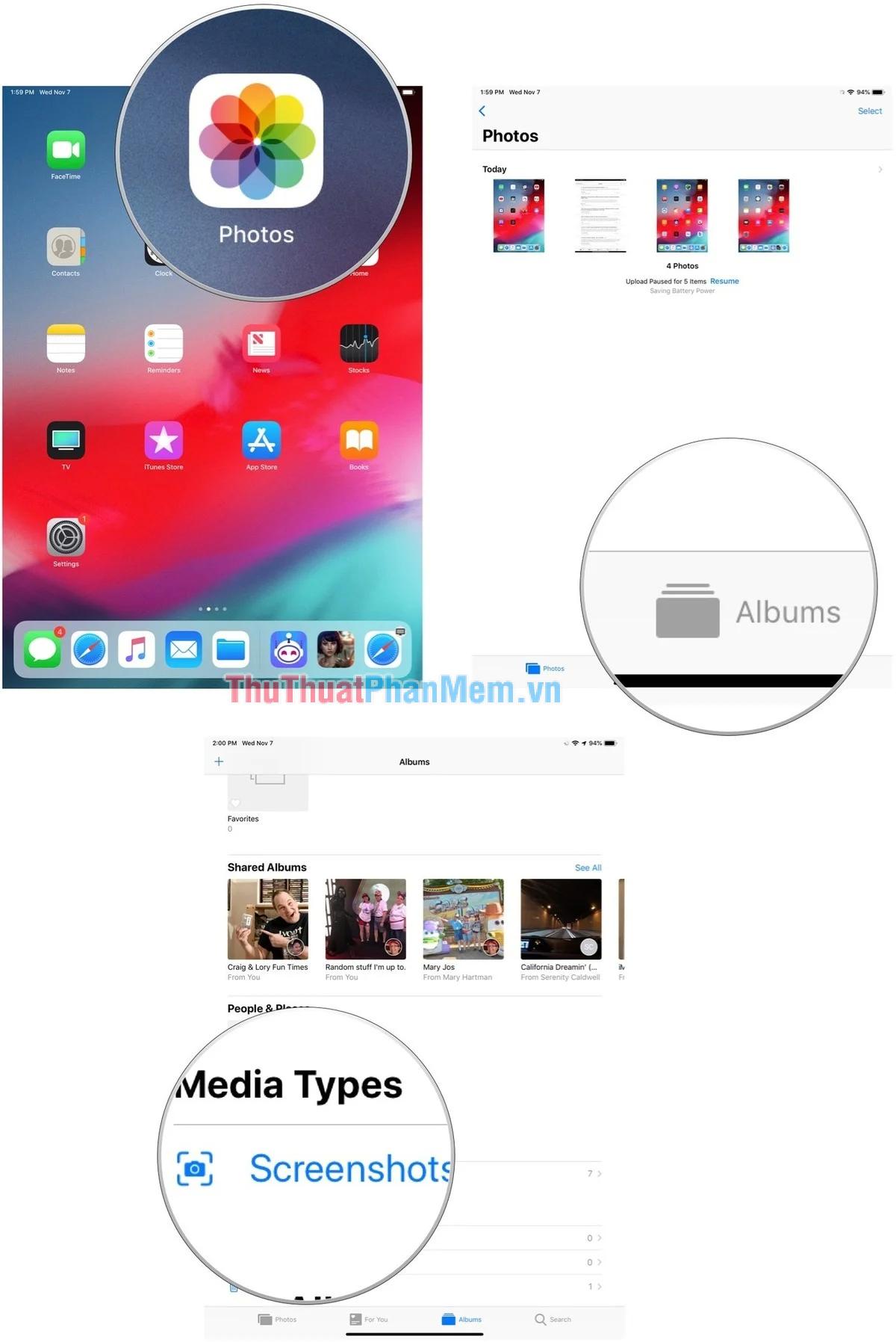 Chọn Albums Screenshot (Ảnh chụp màn hình) để xem
