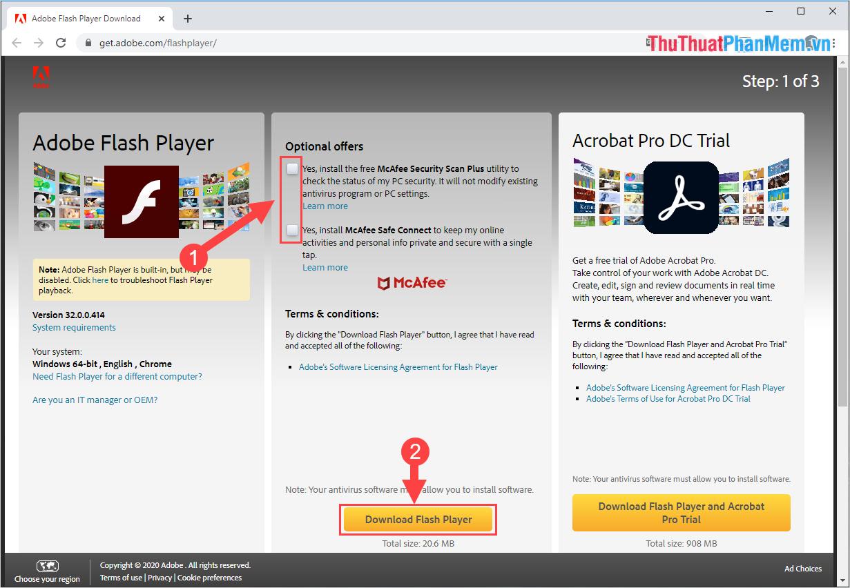 Chọn Download Flash Player để tải phần mềm về máy