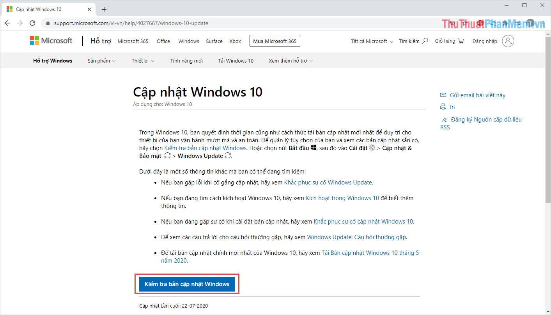 Chọn mục Kiểm tra bản cập nhật cho Windows