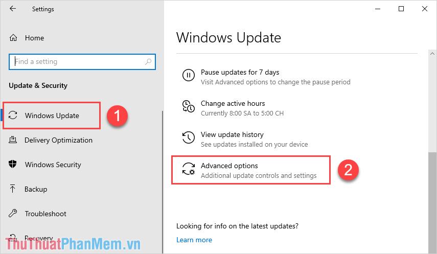 Chọn mục Windows Update và chọn Advanced options