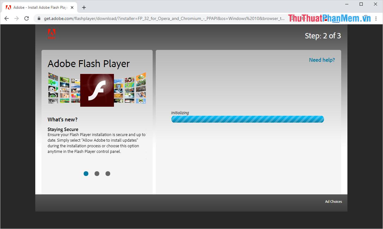 Hệ thống sẽ tiến hành kiểm tra và nén file Adobe Flash Player trước khi cho các bạn tải về máy tính