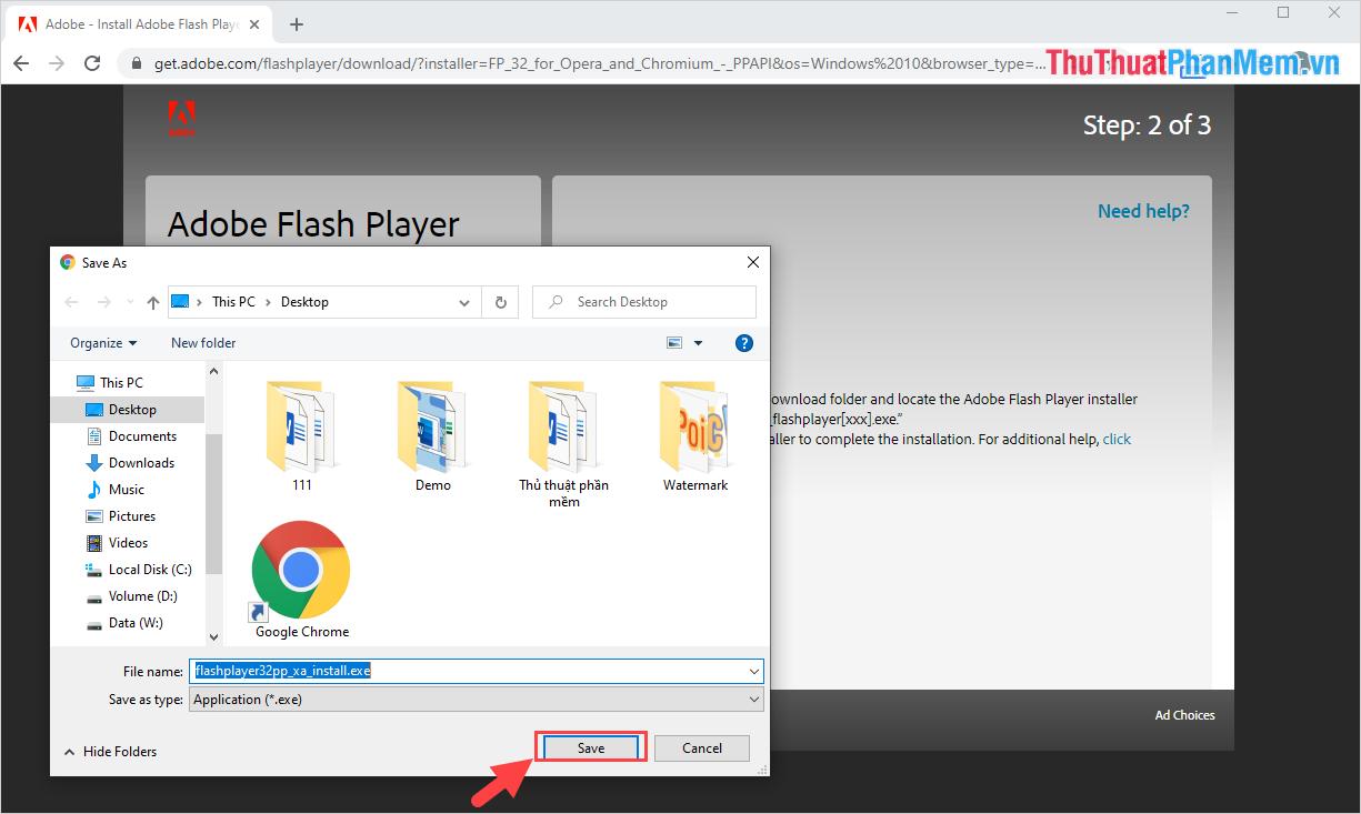 Tiến hành chọn thư mục lưu trữ phần mềm và nhấn Save để tải về