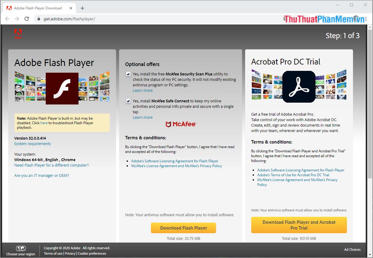 Tiến hành truy cập trang chủ của Adobe Flash Player để thiết lập tải phần mềm về máy tính