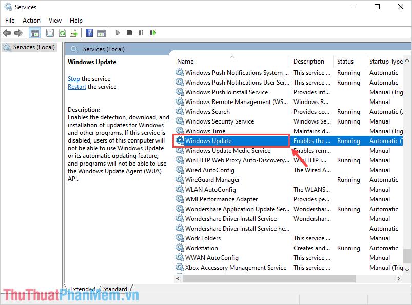 Tìm kiếm mục Windows Update