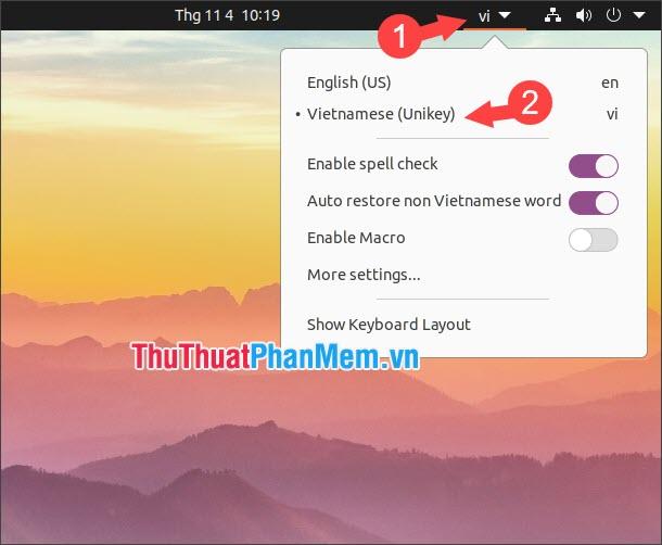Chọn Vietnamese (Unikey)