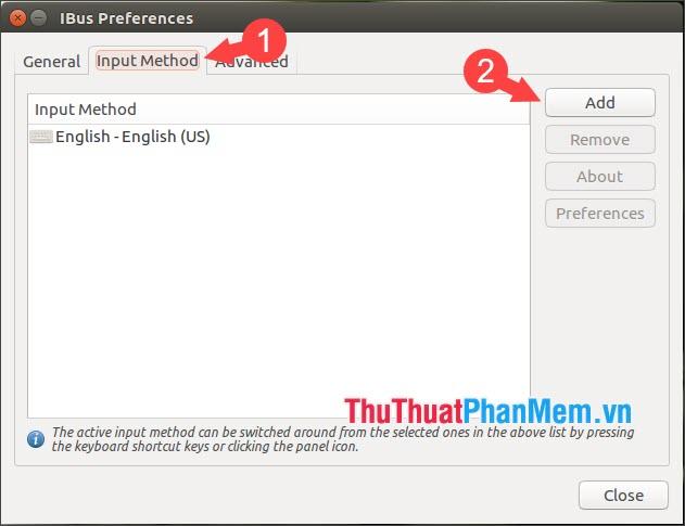 Click vào Input Method và chọn Add