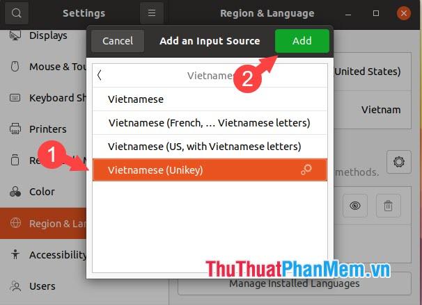 Click vào Vietnamese (Unikey)