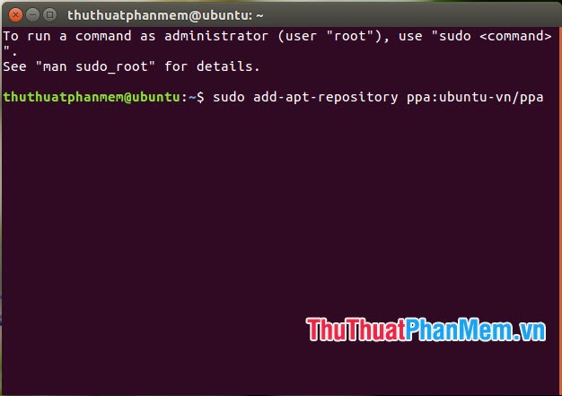 Nhập lệnh sudo add-apt-repository