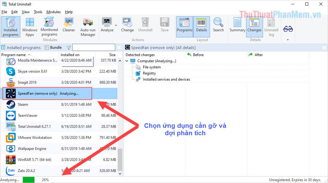 Chọn phần mềm cần gỡ trên máy tính để hệ thống kiểm tra và phân tích