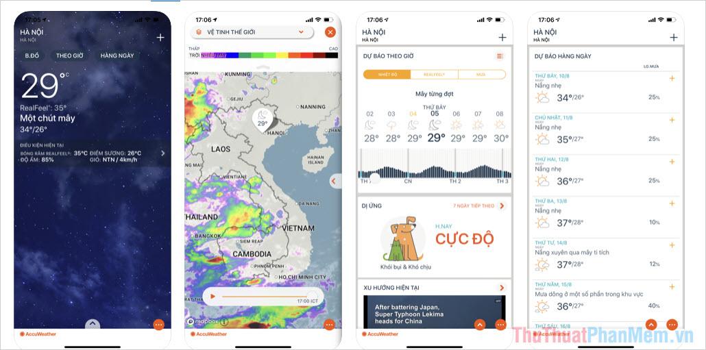Top 5 phần mềm dự báo thời tiết tốt nhất cho điện thoại hiện nay