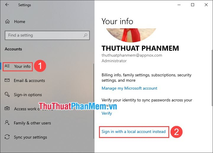 Chọn Sign in with a local account instead