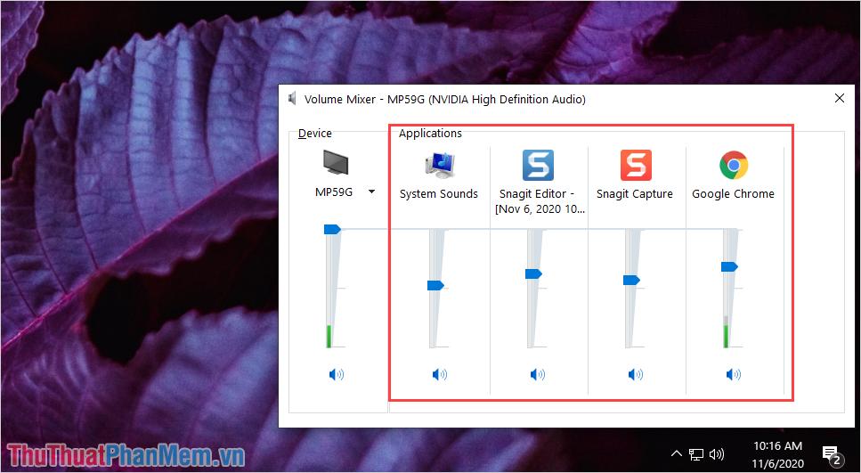 Nhấn vào biểu tượng hình loa ở dưới thanh trượt âm thanh để tắt ứng dụng