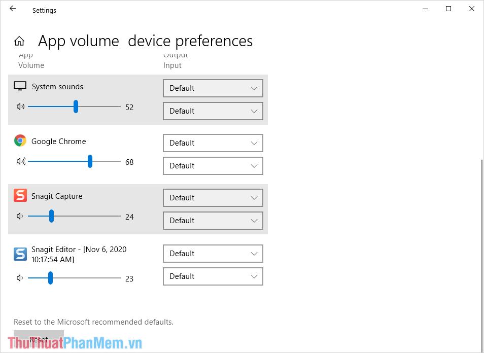 Tiến hành điều chỉnh mức âm thanh của từng ứng dụng