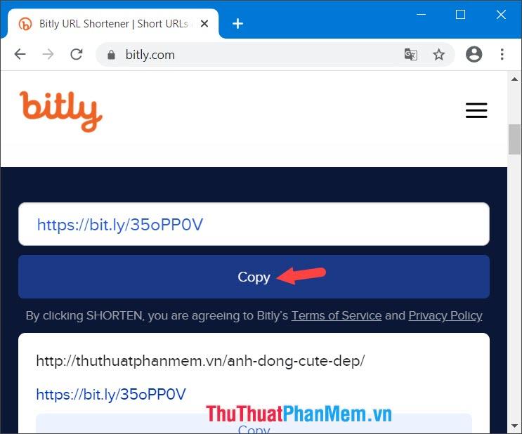 Nhấn Copy để chia sẻ link cho bạn bè
