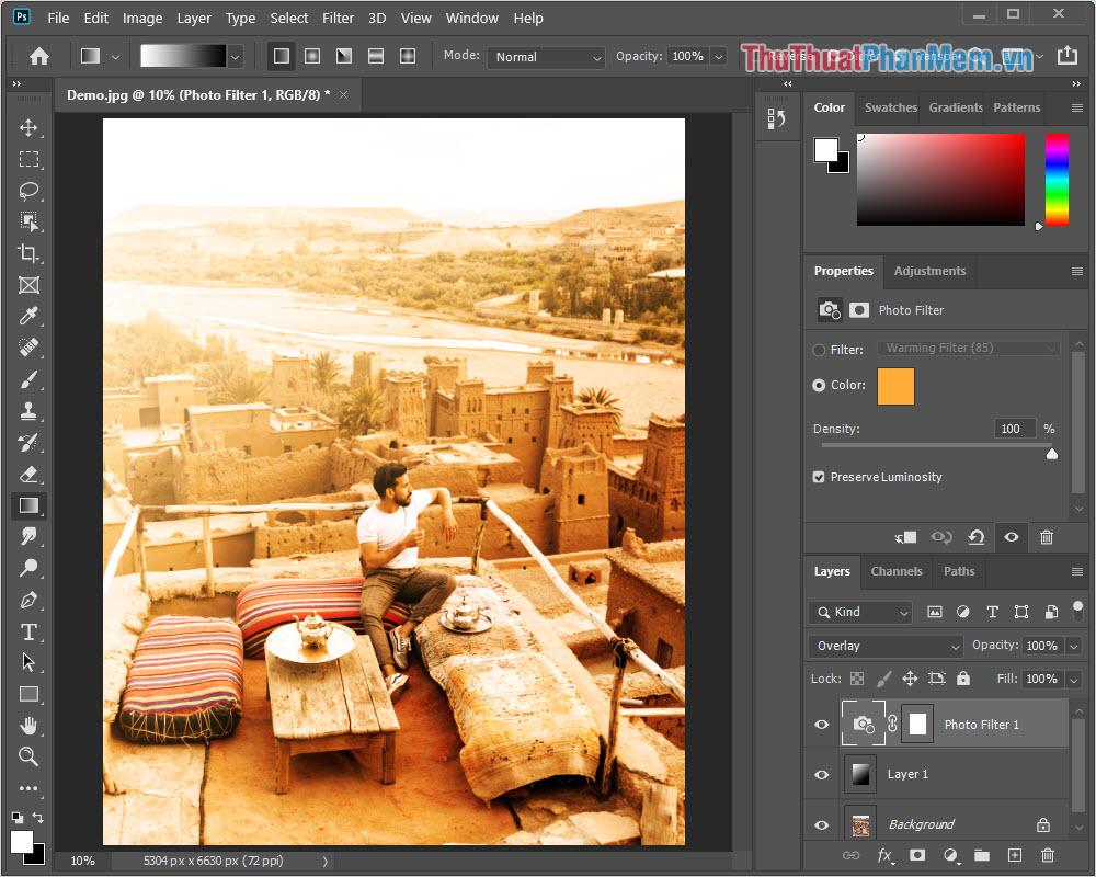 Hoàn tất việc thêm ánh nắng cho hình ảnh bằng Photoshop