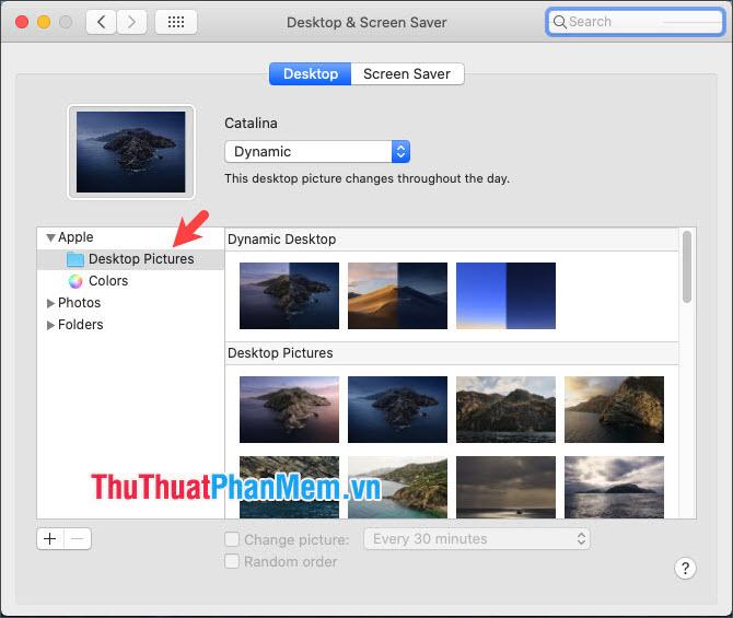 Bạn click đúp vào Desktop Pictures