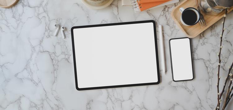 Background cà phê và điện thoại