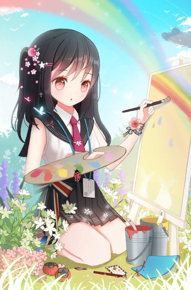 Hình ảnh anime đang vẽ tranh