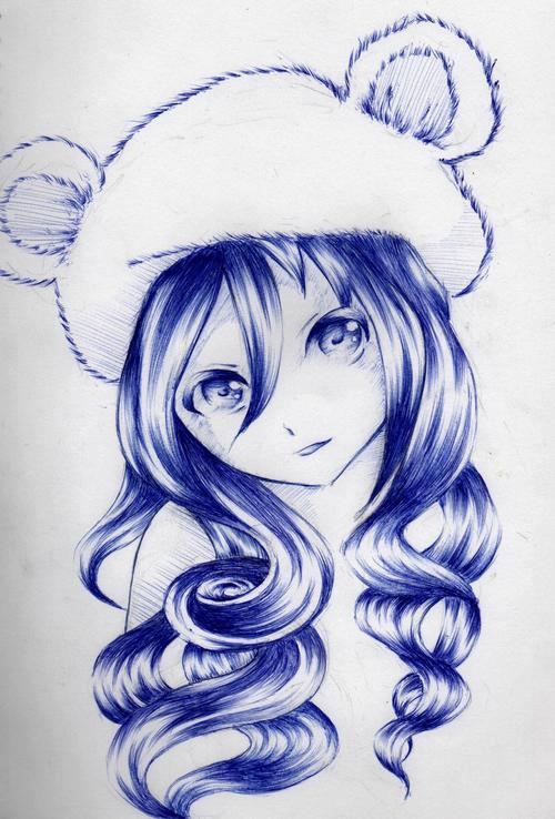 Tranh vẽ anime bút bi xanh