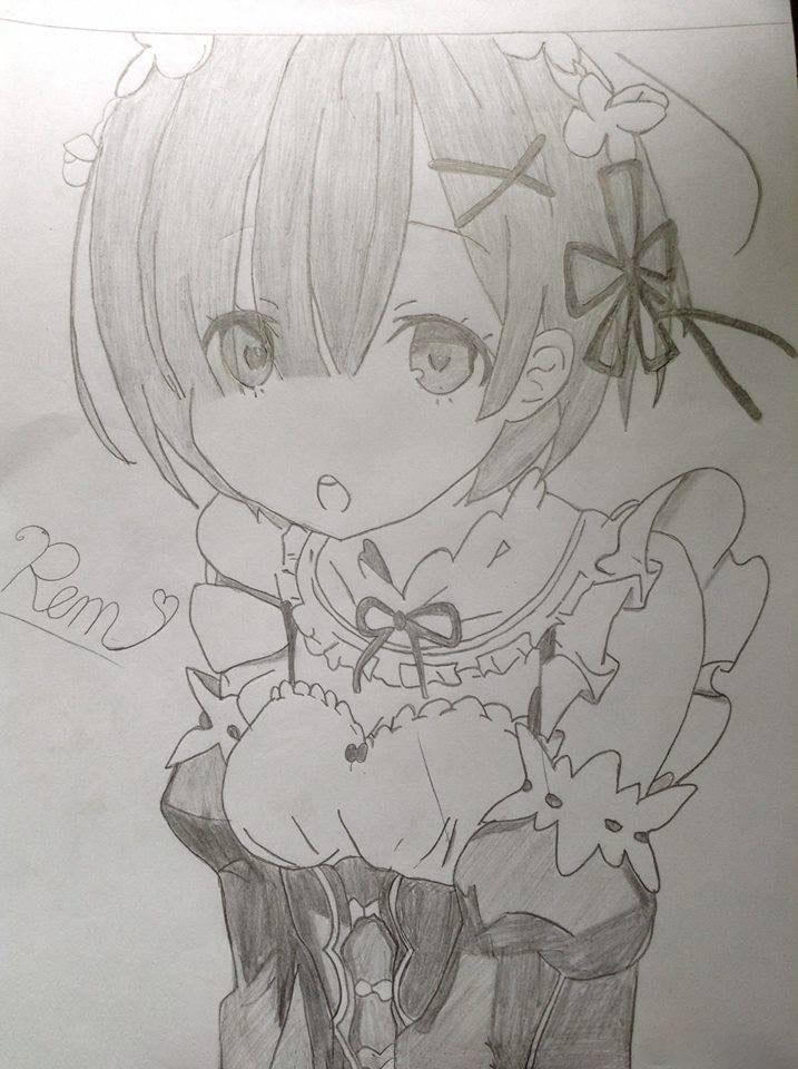Tranh vẽ anime bút chì đen trắng