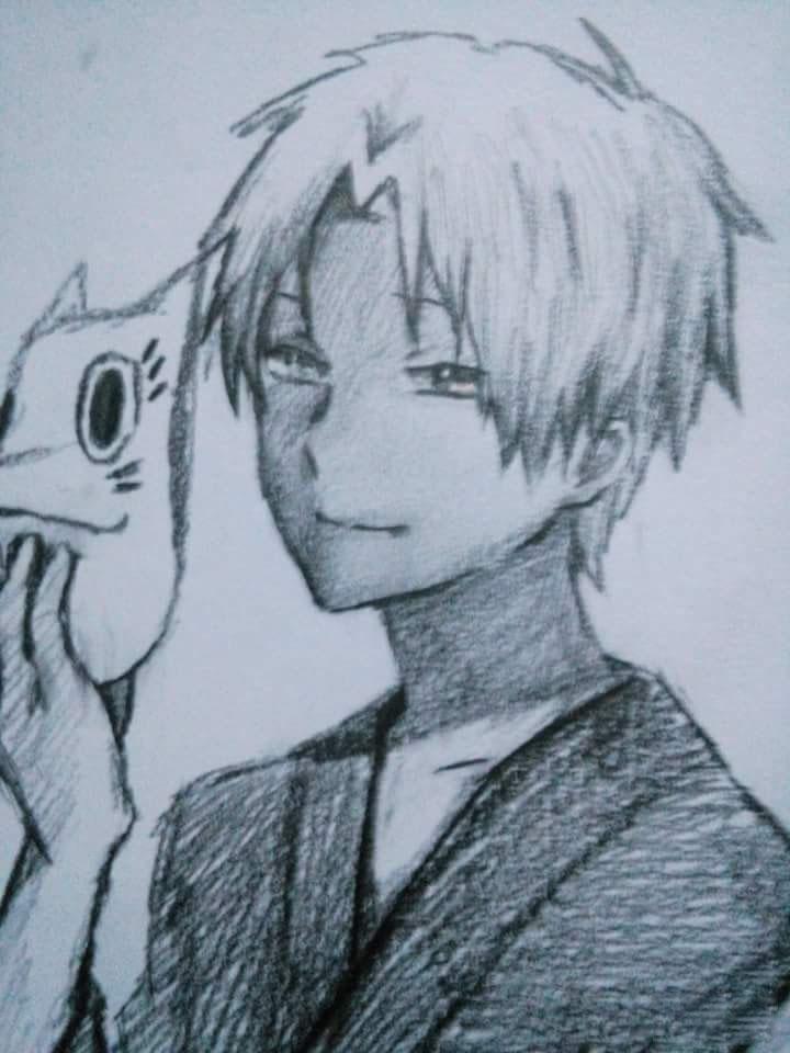 Tranh vẽ anime bút chì đen