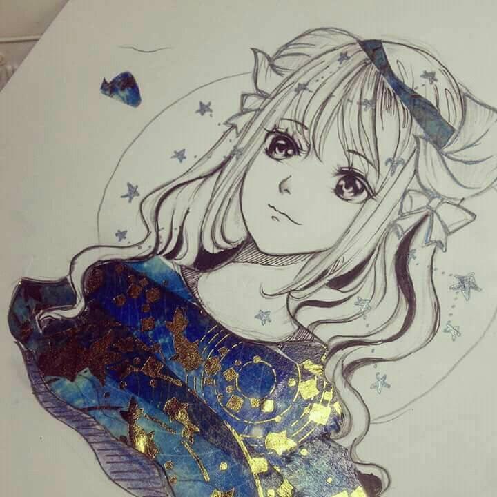 Tranh vẽ anime bút màu kim tuyến